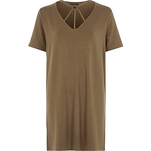 Khaki green harness neck oversized T-shirt