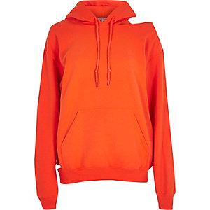 Sweat à capuche orange à découpes