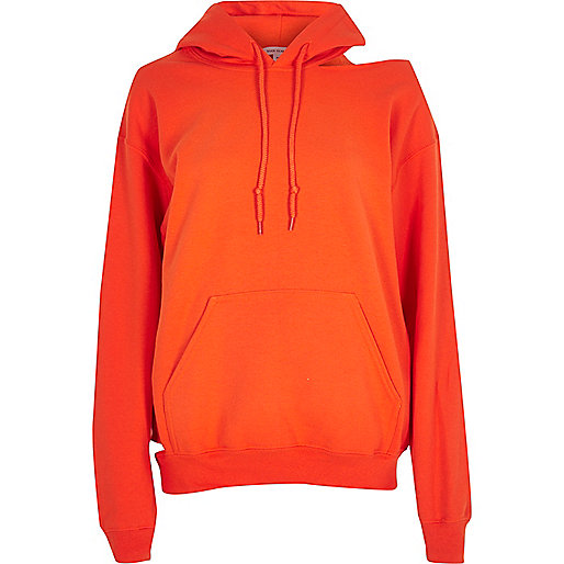 Orange cut out hoodie