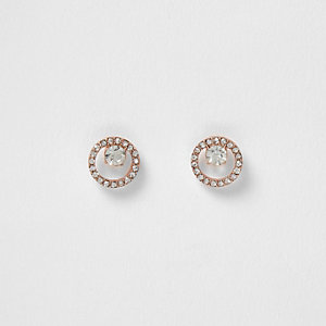 Rose gold diamante drop earrings