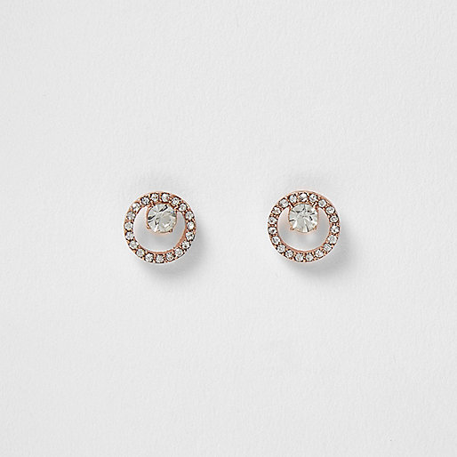 Rose gold rhinestone drop earrings