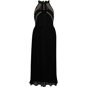 Black pleated embroidered maxi slip dress