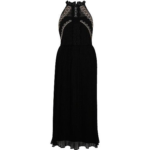 Black pleated embroidered maxi slip dress