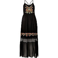 Zwarte cami maxi-jurk met borduursels