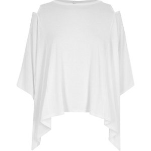 White cut out shoulder cape top