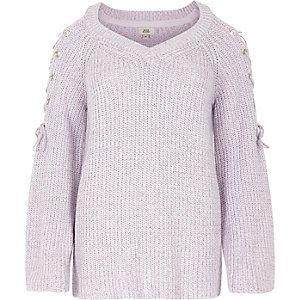 Light purple tie shoulder knit sweater