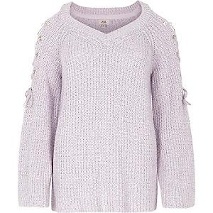 Pull en maille violet clair avec nœuds aux épaules