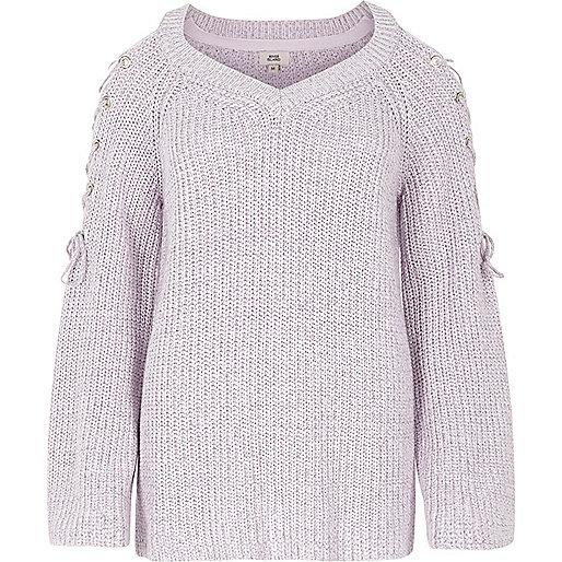 Light purple tie shoulder knit sweater