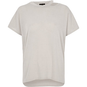 Light grey knit cut out neck T-shirt