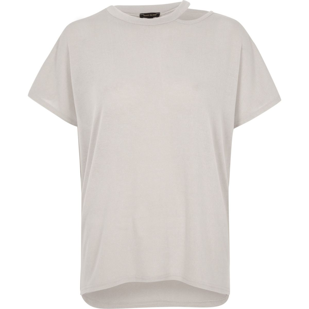 Light grey knit cut out neck T-shirt