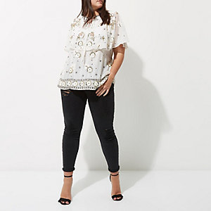 Plus white floral embellished cape top
