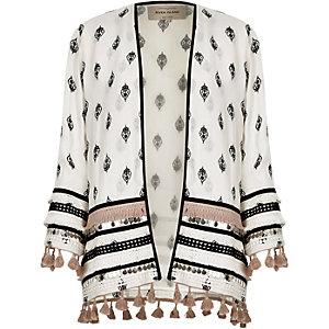 Kimono imprimé blanc orné à manches longues