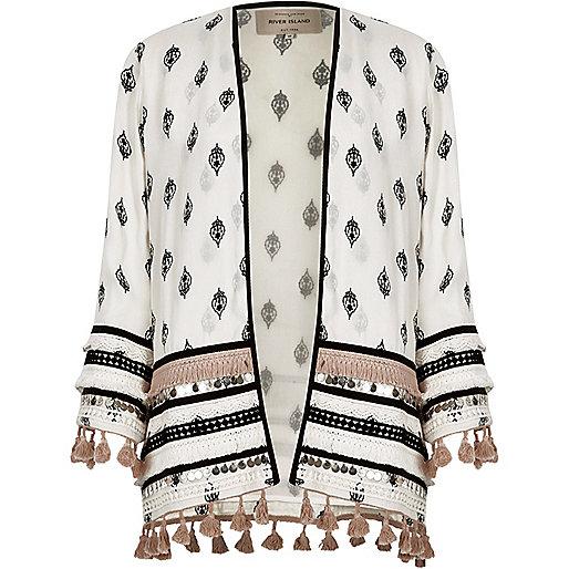 White embellished print long sleeve kimono