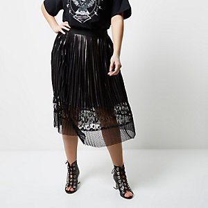 Plus silver foil lace hem pleated midi skirt