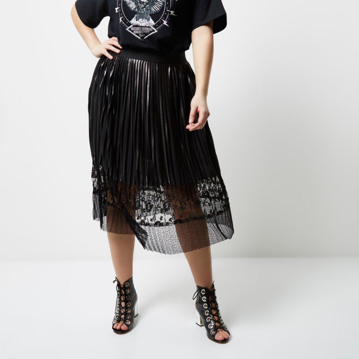 Plus silver foil lace hem pleated midi skirt