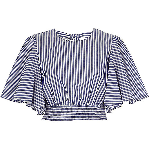 Blue stripe print frill sleeve crop top
