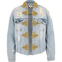 Light blue ripped military denim jacket