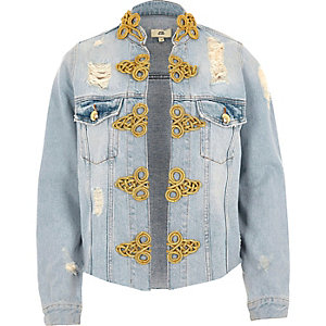 Light blue ripped military denim jacket