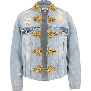 Veste de style militaire en jean bleu clair déchiré