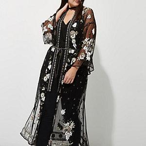 RI Plus - Zwarte verfraaide kimono met mesh