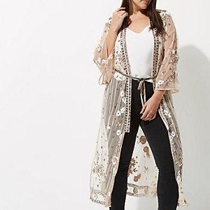 RI Plus - Roze verfraaide maxi kimono met bloemenprint