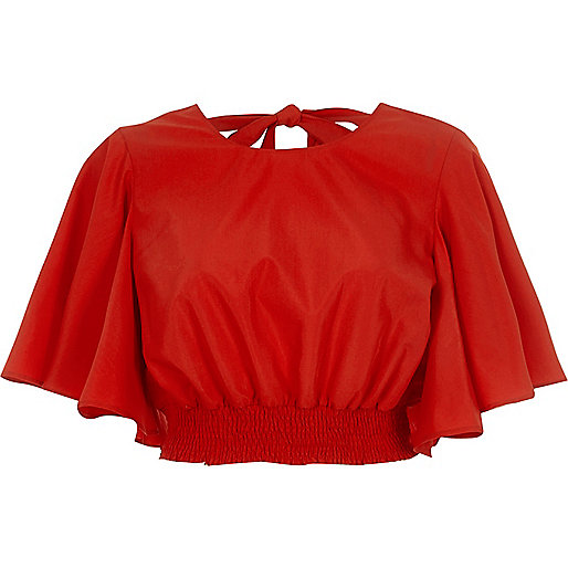 Red frill sleeve tie back crop top