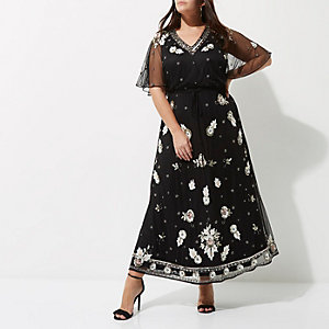 RI Plus - Zwarte maxi-jurk met lovertjes