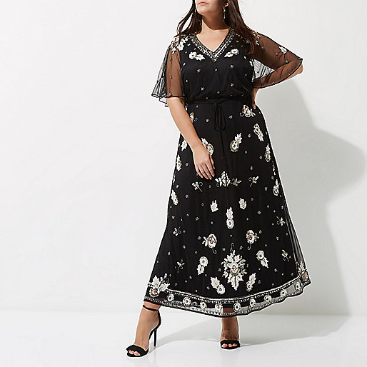 Plus black sequin embellished maxi dress