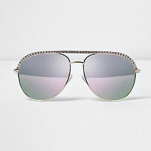 Diamante encrusted aviator sunglasses