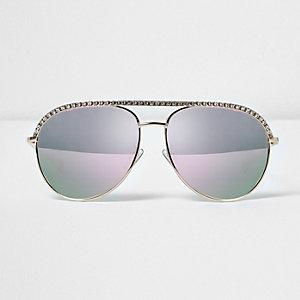 Strassverzierte Pilotensonnenbrille