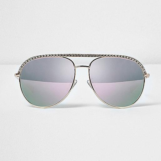 Diamante encrusted aviator sunglasses