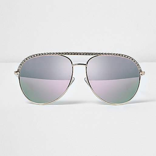 Rhinestone encrusted aviator sunglasses