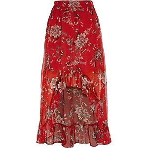 Jupe longue à fleurs rouge avec ourlet asymétrique