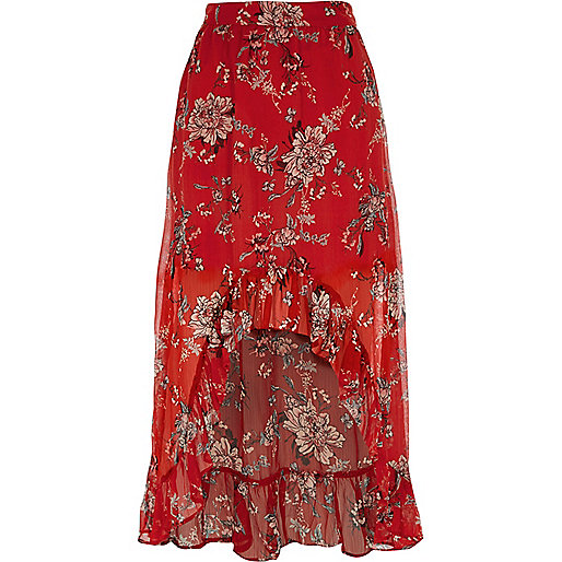 Red floral high-low maxi skirt - maxi skirts - skirts - women