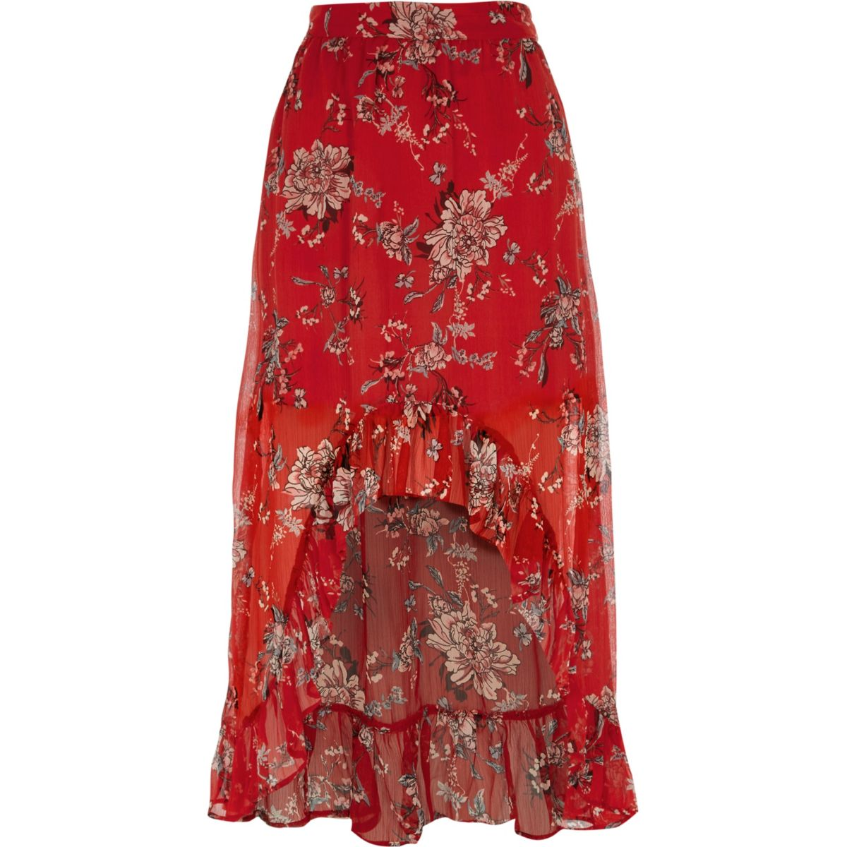 Red floral high-low maxi skirt