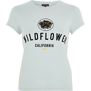 Green 'Wildflower' flock print T-shirt