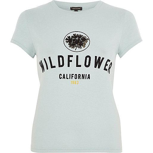Green 'Wildflower' flock print T-shirt
