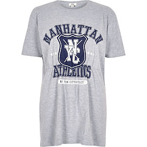 Grey 'Manhattan Athletics' ruched T-shirt