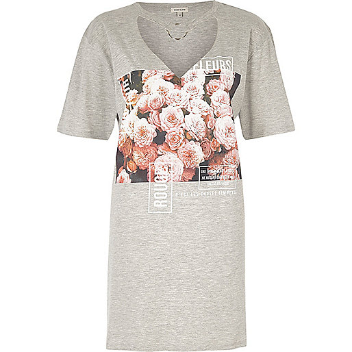 Grey floral print oversized T-shirt
