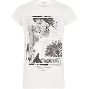 """Weißes T-Shirt mit """"Ocean""""-Print"""