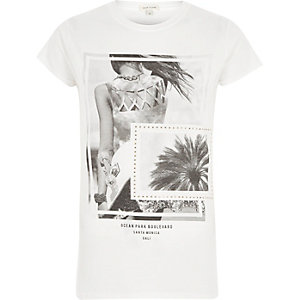 White 'Ocean' photo print T-shirt