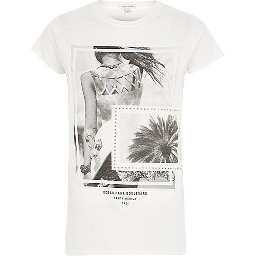 White 'Ocean' photo print T-shirt