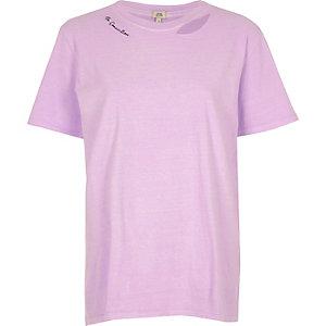 Purple 'no connection' slash neck T-shirt