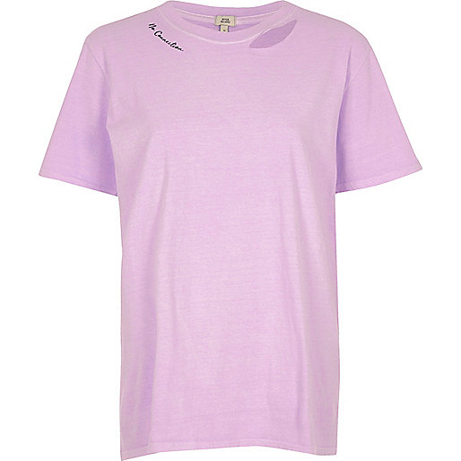 Purple 'no connection' slash neck T-shirt