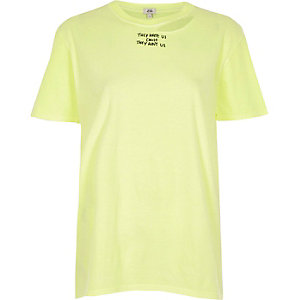 Yellow slogan print distressed T-shirt