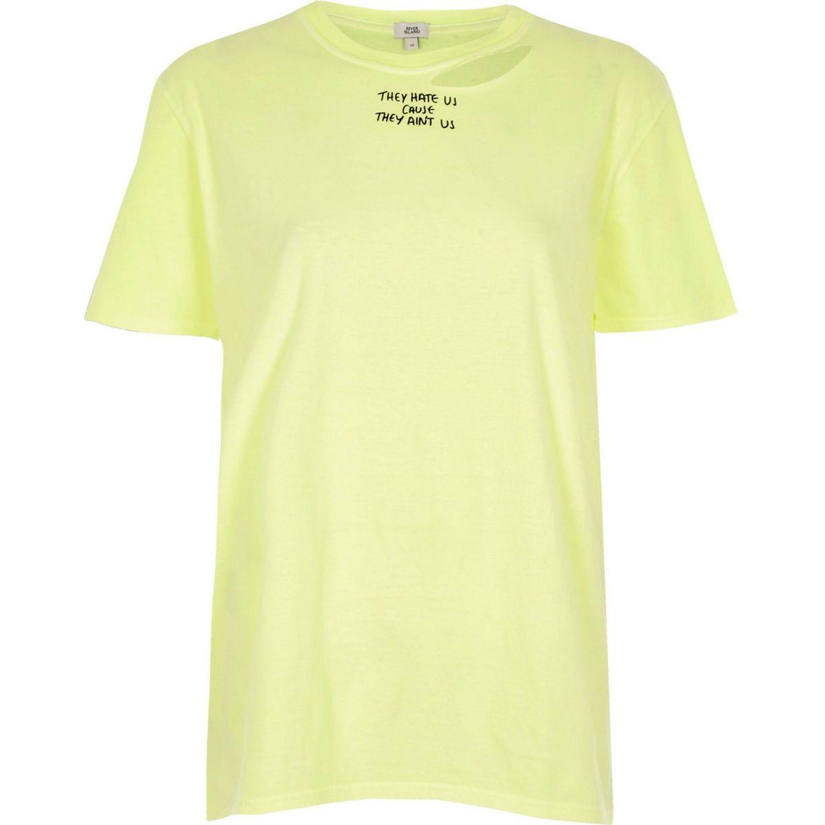 Yellow slogan print distressed T-shirt