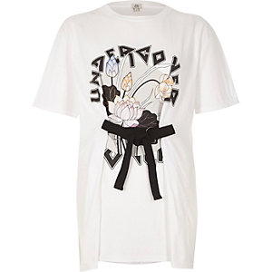 White 'Undercover' print boyfriend T-shirt
