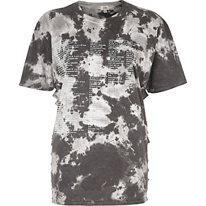 Grey 'Copenhagen' tie dye slash side T-shirt
