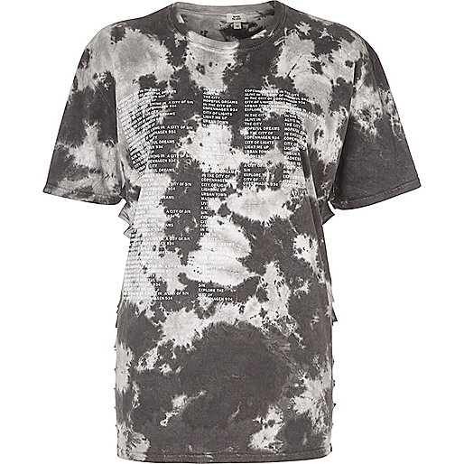Grey 'Copenhagen' tie dye slash side T-shirt