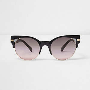 Black cut out half frame ocean sunglasses